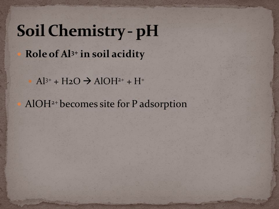 Role of Al 3+ in soil acidity Al 3+ + H2O  AlOH 2+ + H + AlOH 2+ becomes site for P adsorption