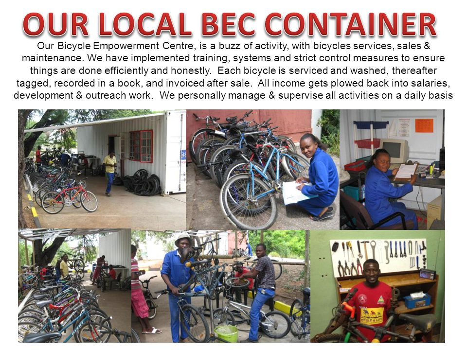 Our Bicycle Empowerment Centre, is a buzz of activity, with bicycles services, sales & maintenance.