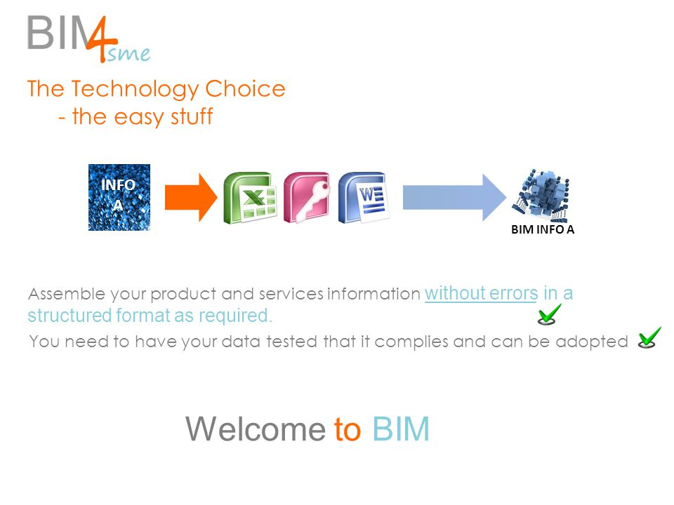 The Technology Choice - the easy stuff INFO A BIM INFO A Welcome to BIM Assemble your product and services information without errors in a structured format as required.