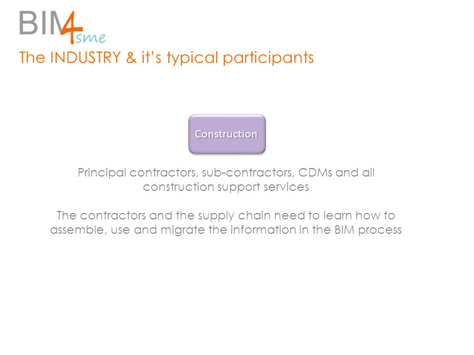The INDUSTRY & it's typical participants Principal contractors, sub-contractors, CDMs and all construction support services The contractors and the supply chain need to learn how to assemble, use and migrate the information in the BIM process ConstructionConstruction