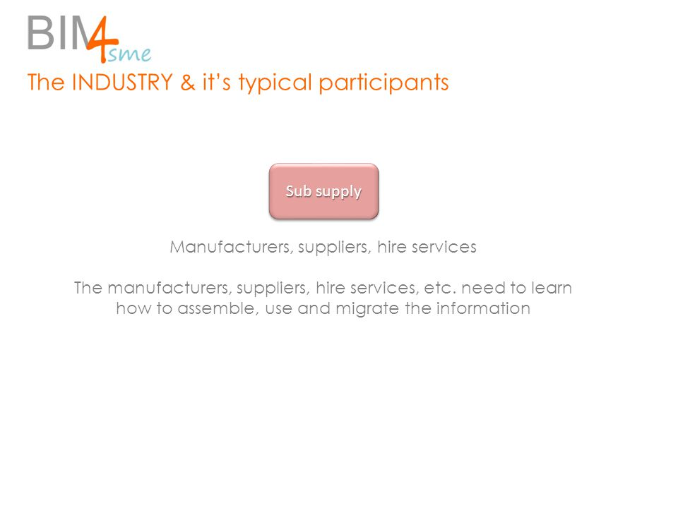 The INDUSTRY & it's typical participants Manufacturers, suppliers, hire services The manufacturers, suppliers, hire services, etc. need to learn how t