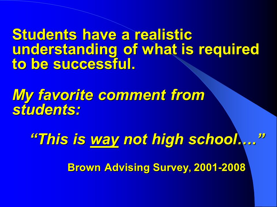 Students have a realistic understanding of what is required to be successful.