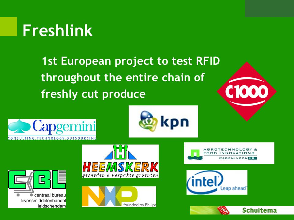 Freshlink 1st European project to test RFID throughout the entire chain of freshly cut produce