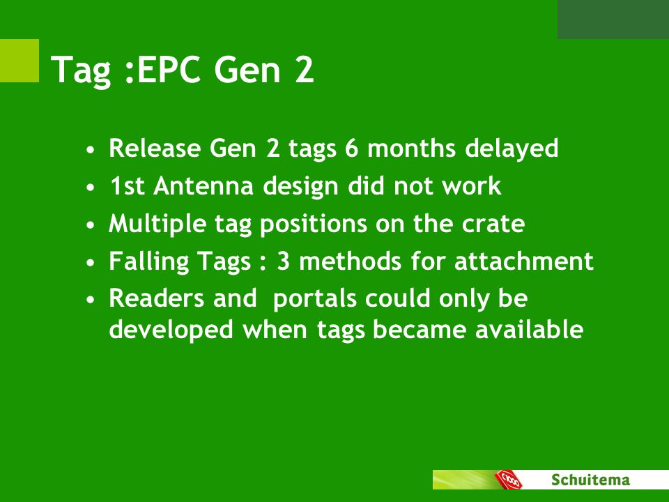 Tag :EPC Gen 2 Release Gen 2 tags 6 months delayed 1st Antenna design did not work Multiple tag positions on the crate Falling Tags : 3 methods for attachment Readers and portals could only be developed when tags became available
