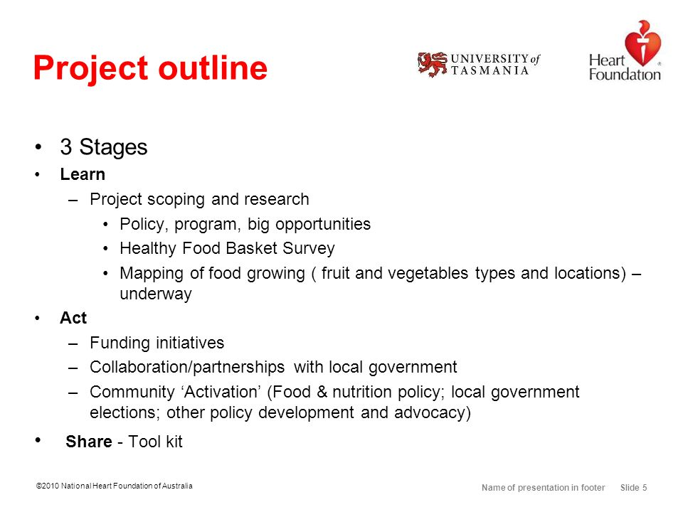 Name of presentation in footer Slide 5 Project outline 3 Stages Learn –Project scoping and research Policy, program, big opportunities Healthy Food Ba