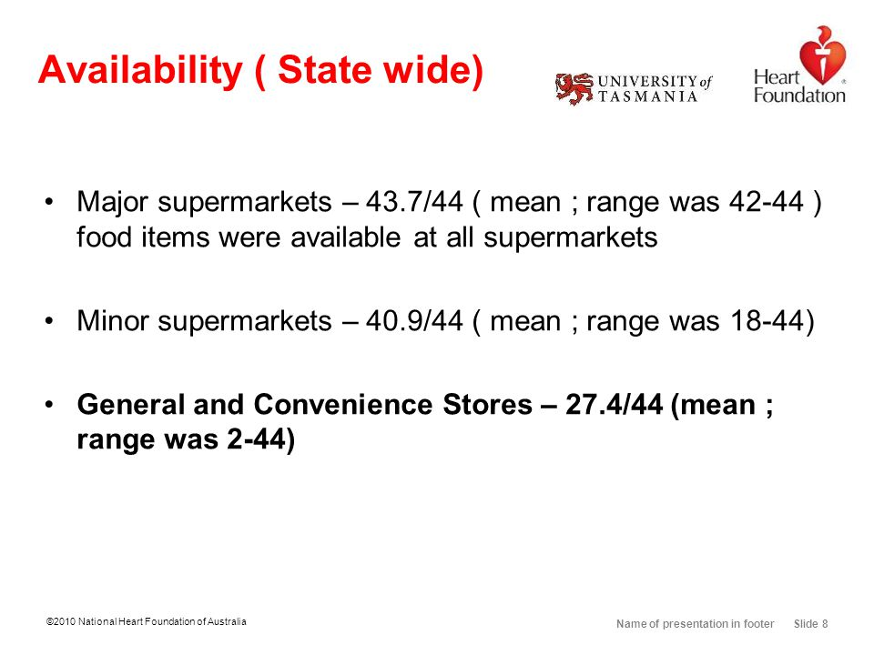 ©2010 National Heart Foundation of Australia Name of presentation in footer Slide 8 Availability ( State wide) Major supermarkets – 43.7/44 ( mean ; range was 42-44 ) food items were available at all supermarkets Minor supermarkets – 40.9/44 ( mean ; range was 18-44) General and Convenience Stores – 27.4/44 (mean ; range was 2-44)