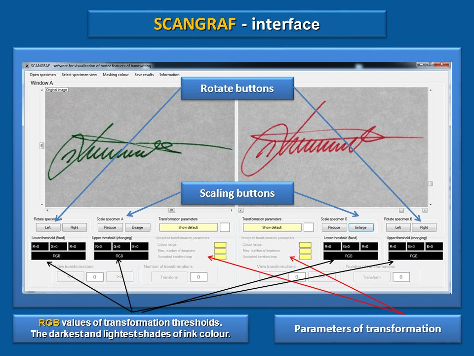 SCANGRAF SCANGRAF SCANGRAF is not a graphometric programme and does not provide for mathematically measurable parameters.