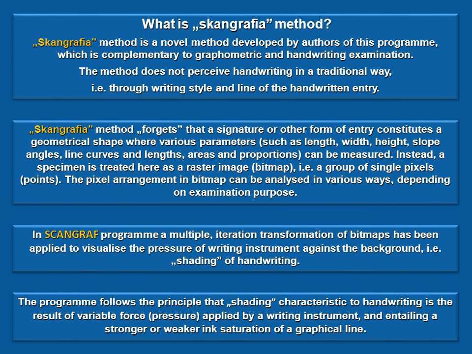 "SCANGRAF is the first computer programme to utilise ""skangrafia method in handwriting examination SCANGRAF"
