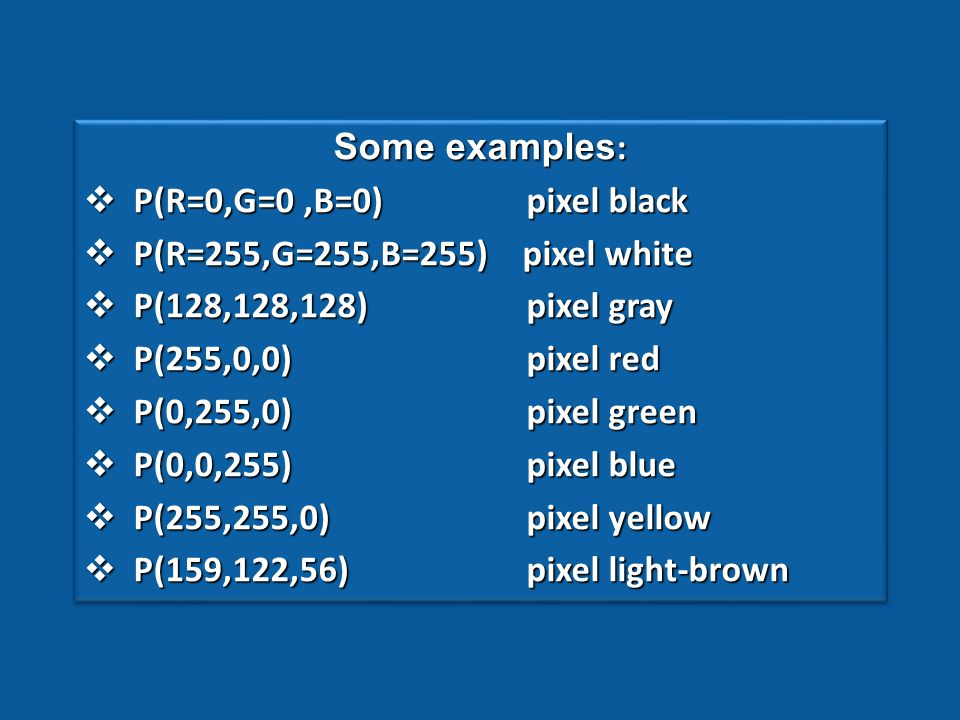 To recall the principles of transformation, basic definitions of RGB based digital colour saving have been summarised below.