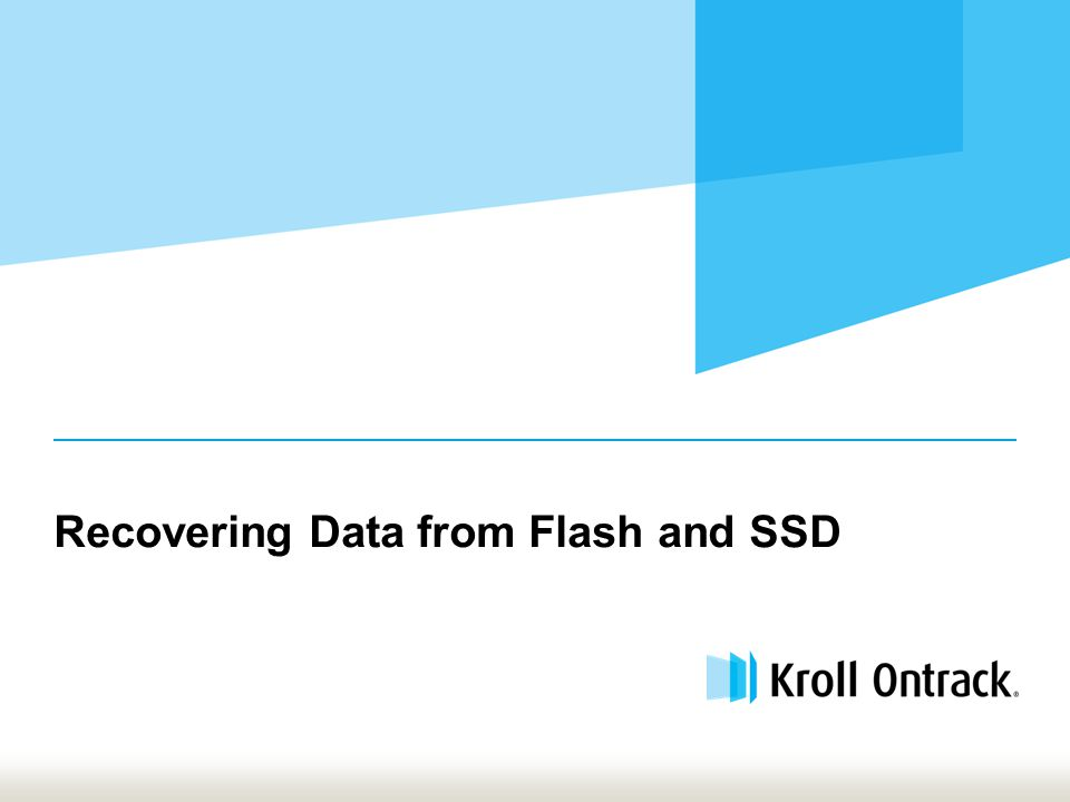 Recovering Data from Flash and SSD
