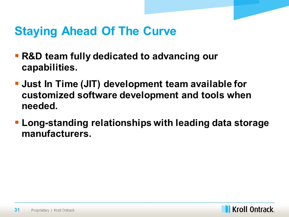 Proprietary | Kroll Ontrack Staying Ahead Of The Curve  R&D team fully dedicated to advancing our capabilities.