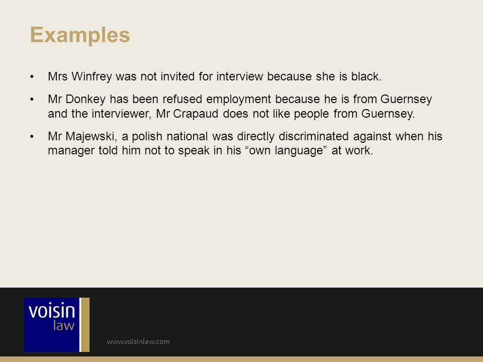 www.voisinlaw.com Mrs Winfrey was not invited for interview because she is black.