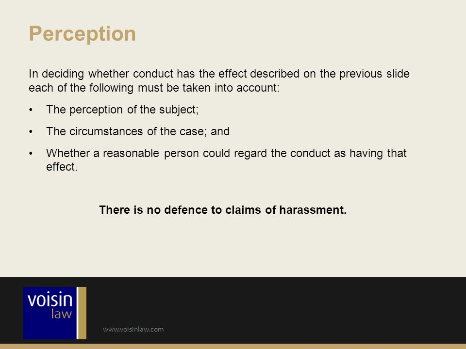 www.voisinlaw.com In deciding whether conduct has the effect described on the previous slide each of the following must be taken into account: The per