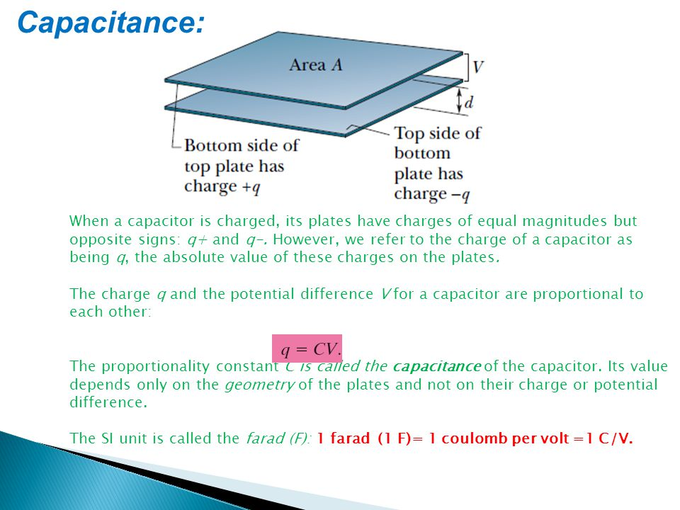 Capacitance: When a capacitor is charged, its plates have charges of equal magnitudes but opposite signs: q+ and q-. However, we refer to the charge o