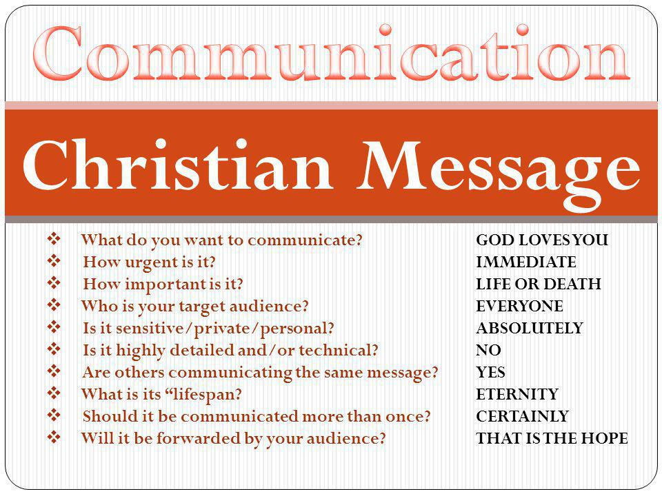  What do you want to communicate? GOD LOVES YOU  How urgent is it? IMMEDIATE  How important is it? LIFE OR DEATH  Who is your target audience? EVE