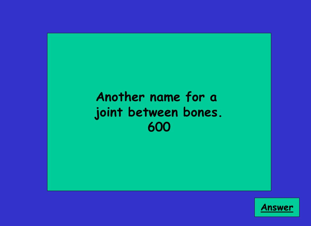 Another name for a joint between bones. 600 Answer