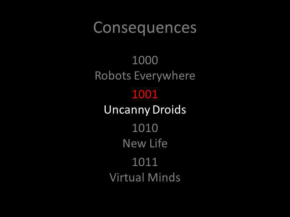 Consequences 1000 Robots Everywhere 1001 Uncanny Droids 1010 New Life 1011 Virtual Minds