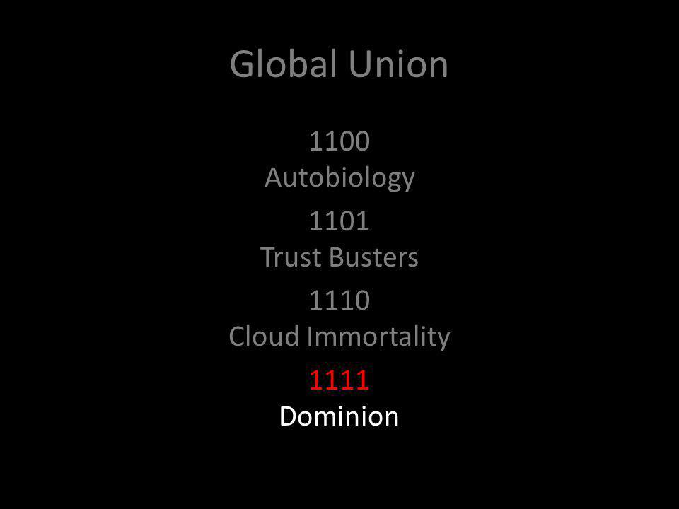 Global Union 1100 Autobiology 1101 Trust Busters 1110 Cloud Immortality 1111 Dominion