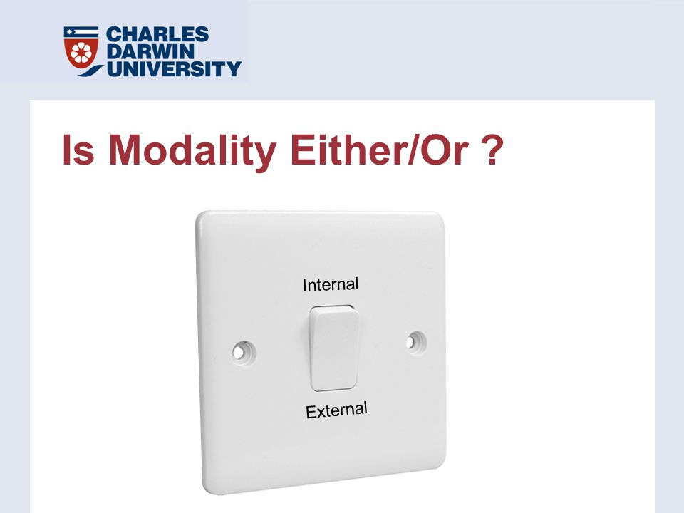 Is Modality Either/Or ? Internal External