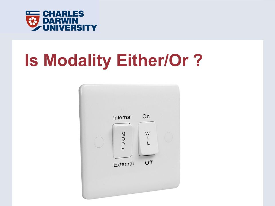 Is Modality Either/Or ? Internal External On Off WILWIL MODEMODE