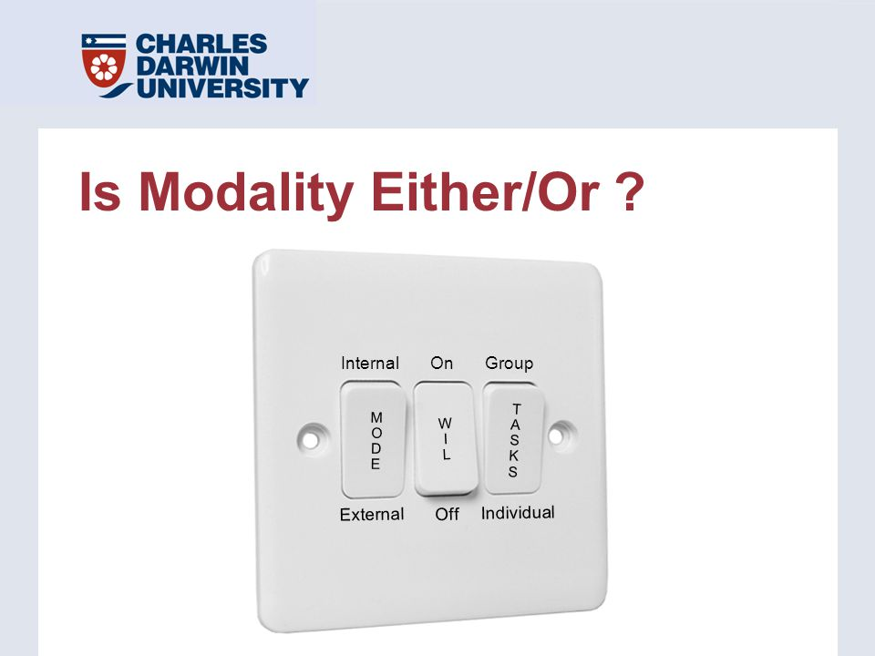 Is Modality Either/Or ? InternalOn Off External WILWIL MODEMODE Group Individual TASKSTASKS