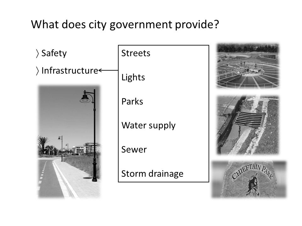What does city government provide?  Safety  Infrastructure Streets Lights Parks Water supply Sewer Storm drainage