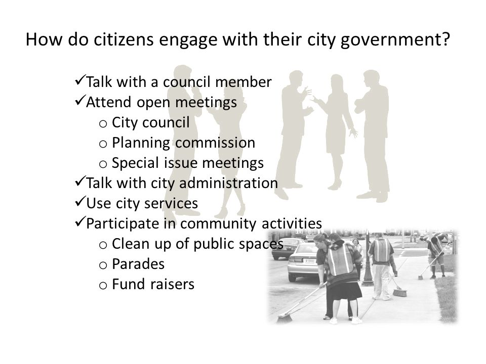 Citizens define the values for the community! Values become policy and set the tax burden.