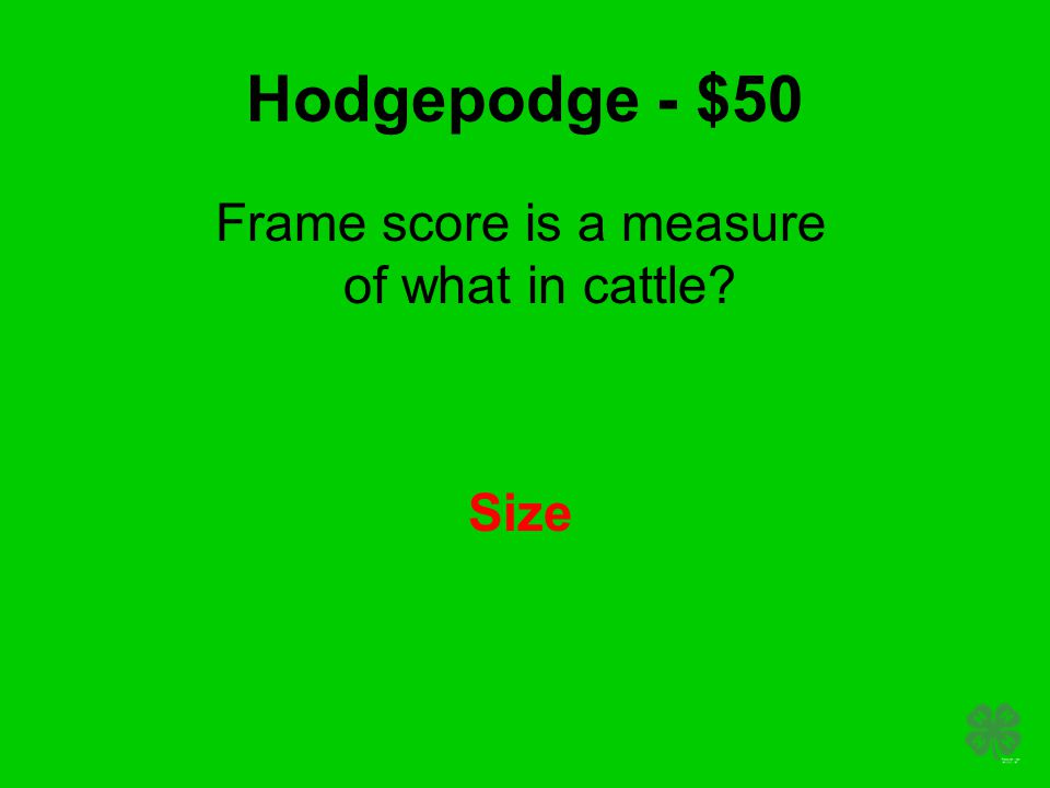 Hodgepodge - $50 Frame score is a measure of what in cattle? Size
