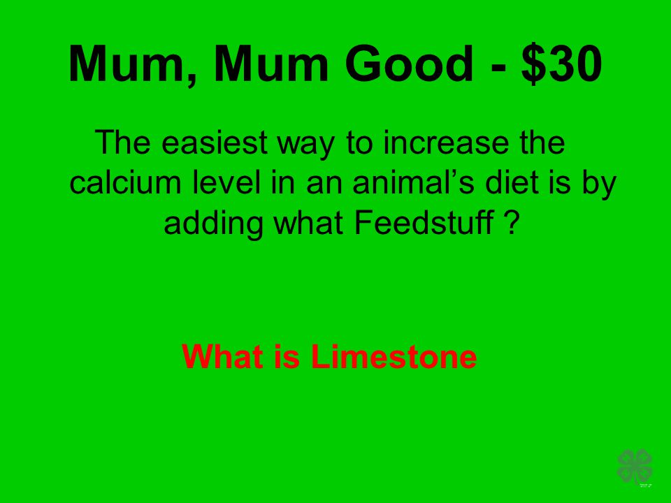 Mum, Mum Good - $30 The easiest way to increase the calcium level in an animal's diet is by adding what Feedstuff ? What is Limestone