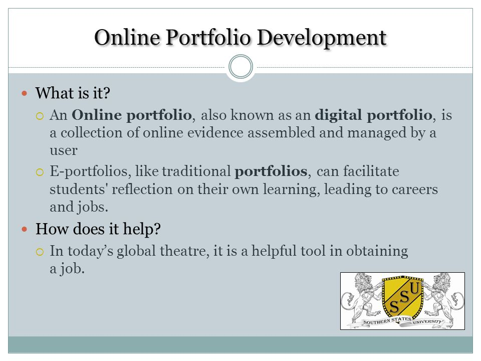 Online Portfolio Development What is it.