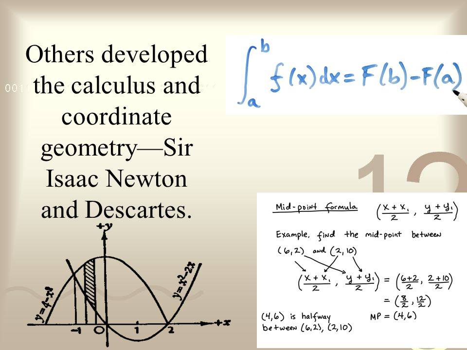 Others developed the calculus and coordinate geometry—Sir Isaac Newton and Descartes.