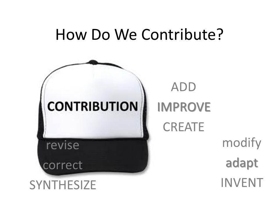 How Do We Contribute? ADD IMPROVE CREATE modify adapt INVENT revise correct SYNTHESIZE