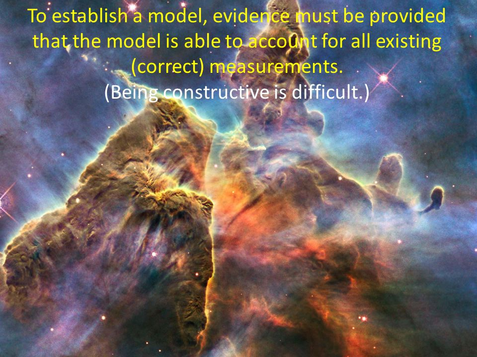 To establish a model, evidence must be provided that the model is able to account for all existing (correct) measurements.