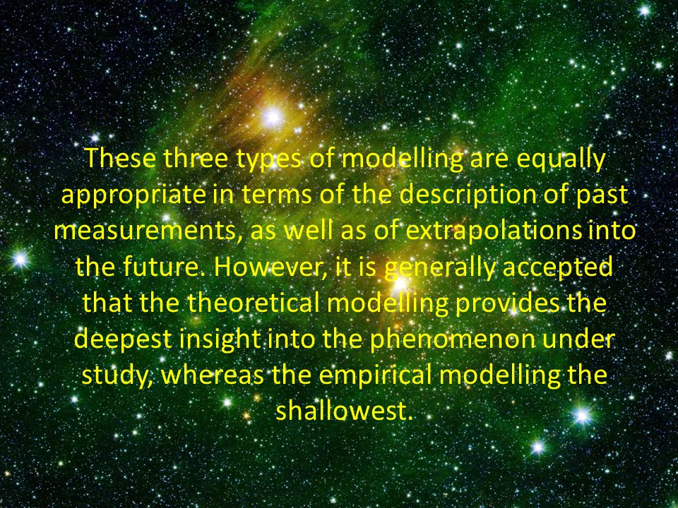 These three types of modelling are equally appropriate in terms of the description of past measurements, as well as of extrapolations into the future.