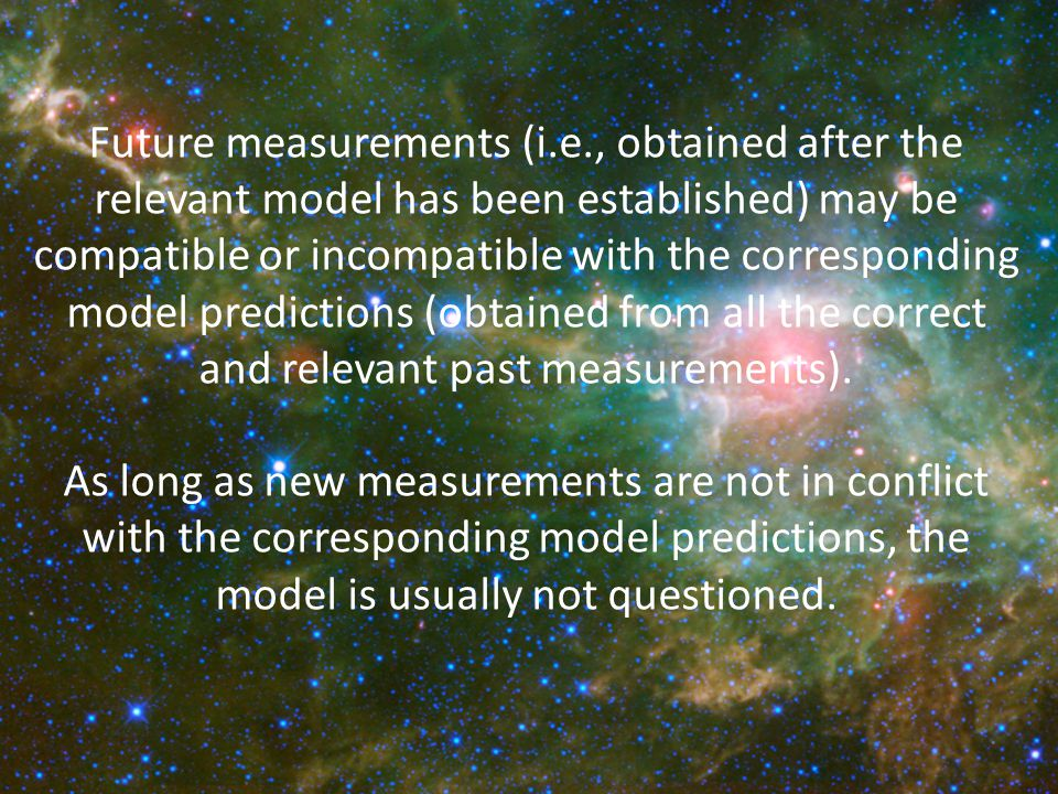 Future measurements (i.e., obtained after the relevant model has been established) may be compatible or incompatible with the corresponding model predictions (obtained from all the correct and relevant past measurements).