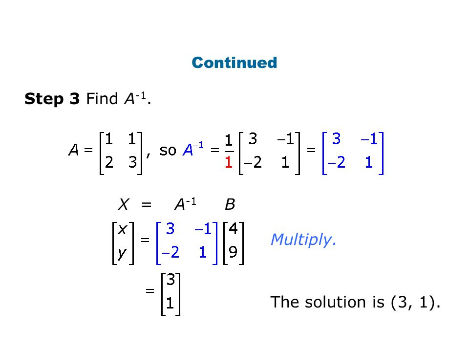Continued Step 3 Find A -1. The solution is (3, 1). X = A -1 B Multiply.