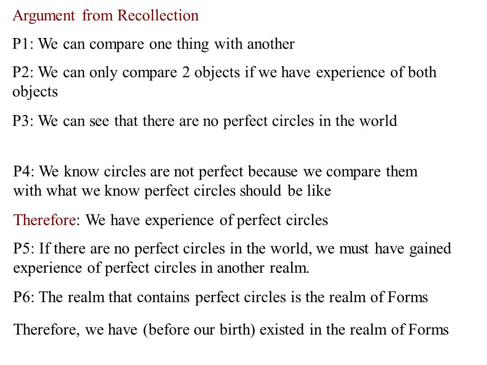 Argument from Recollection P4: We know circles are not perfect because we compare them with what we know perfect circles should be like Therefore: We have experience of perfect circles P5: If there are no perfect circles in the world, we must have gained experience of perfect circles in another realm.