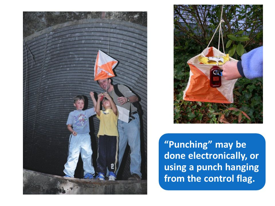 Punching may be done electronically, or using a punch hanging from the control flag.