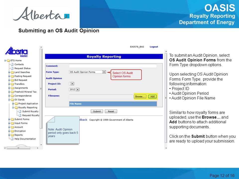 Page 12 of 16 To submit an Audit Opinion, select OS Audit Opinion Forms from the Form Type dropdown options.