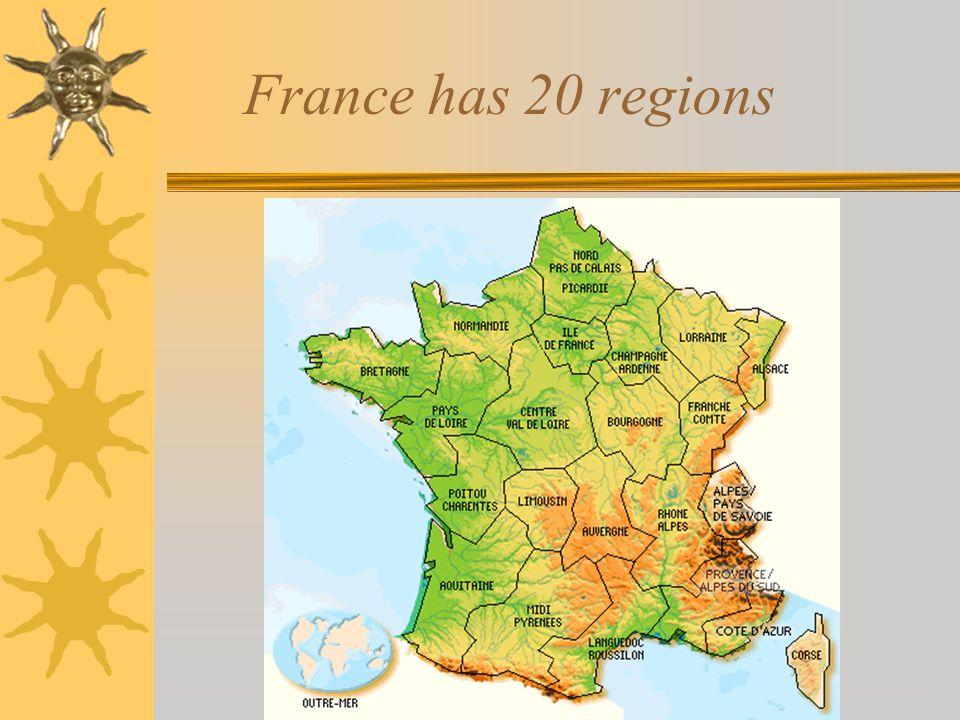 Each region contains several departements