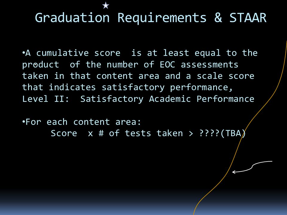 Graduation Requirements & STAAR. A cumulative score is at least equal to the product of the number of EOC assessments taken in that content area and a