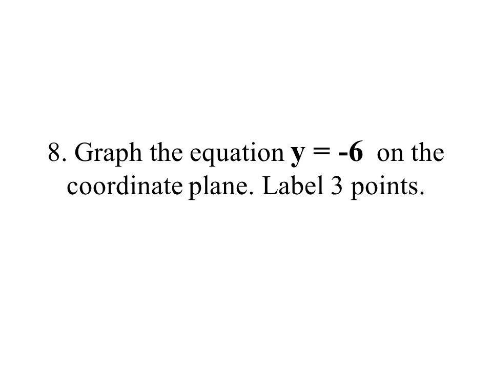 8. Graph the equation y = -6 on the coordinate plane. Label 3 points.