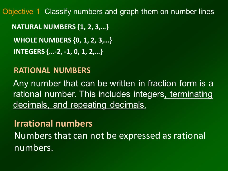 Real Numbers Rational Numbers Irrational Numbers Natural Numbers Whole Numbers Integers The set of Real Numbers The set of Real Numbers consists of the set of rational numbers and the set of irrational numbers.