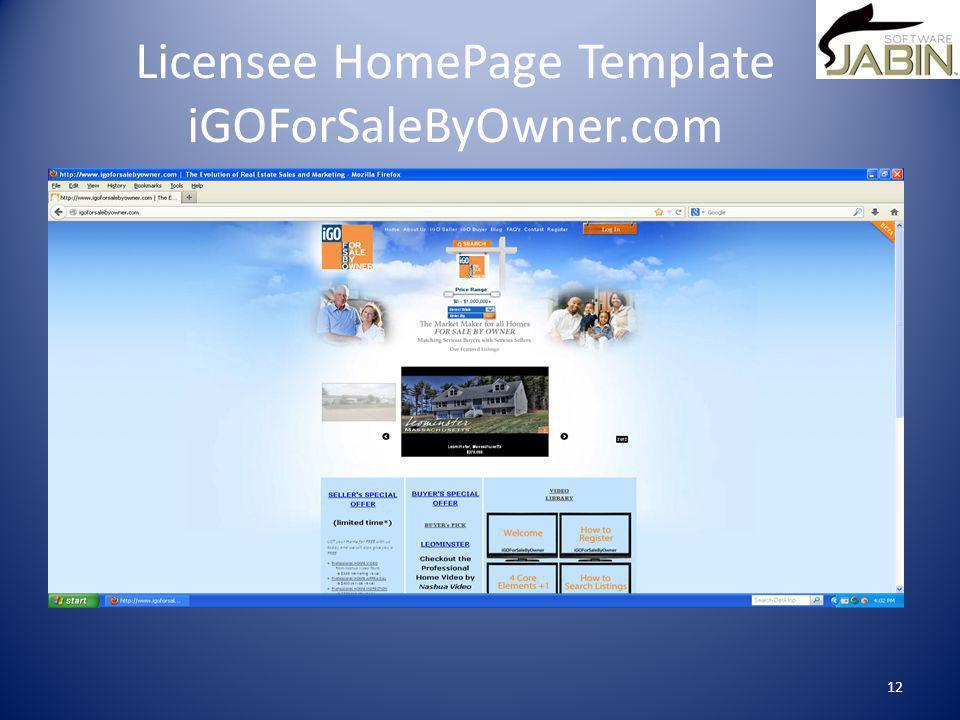 Licensee HomePage Template iGOForSaleByOwner.com 12