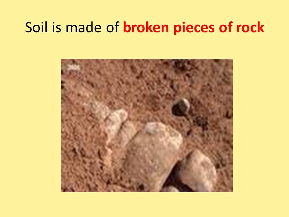 Soil is made of broken pieces of rock