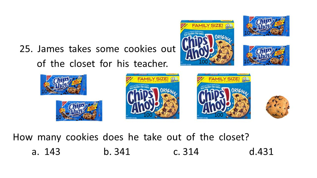 25. James takes some cookies out of the closet for his teacher.