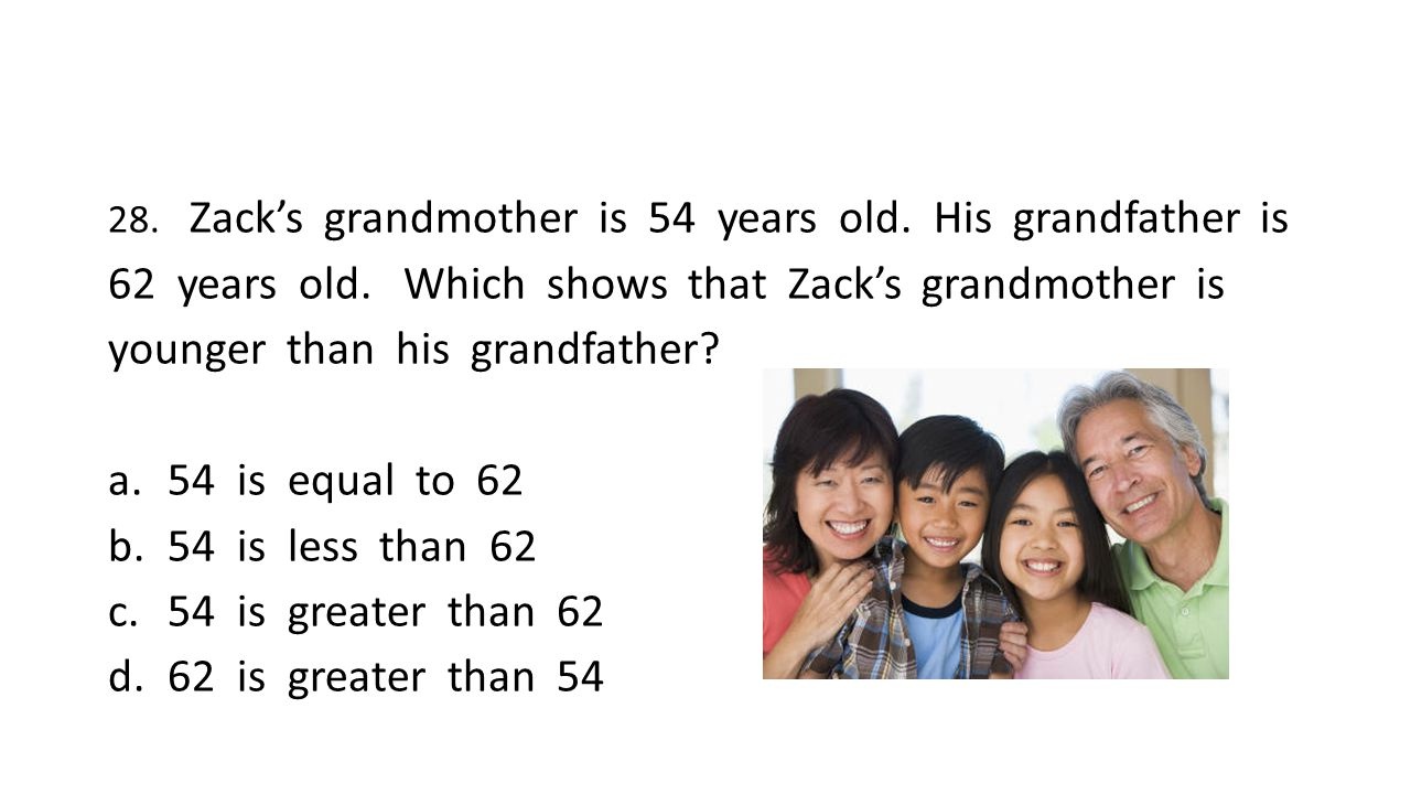 28. Zack's grandmother is 54 years old. His grandfather is 62 years old.