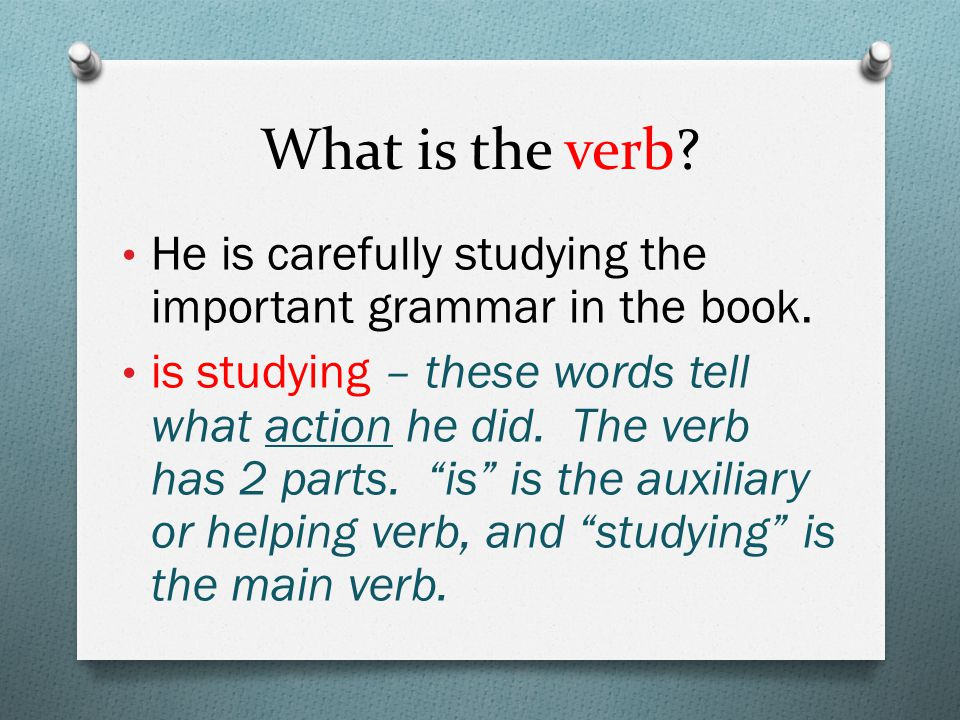 What is the verb. He is carefully studying the important grammar in the book.