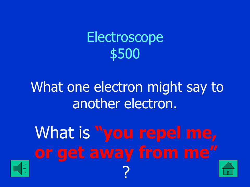 "Electroscope $400 The charge found on the leaves when a negative rod is used to charge an electroscope by induction with a ground. What is ""positive c"