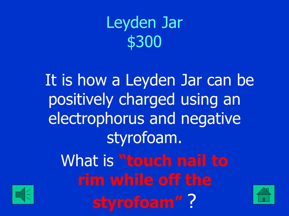 "Leyden Jar $200 The charge on the foil of a Leyden jar with negatively charged water. What is ""Positive"" ?"